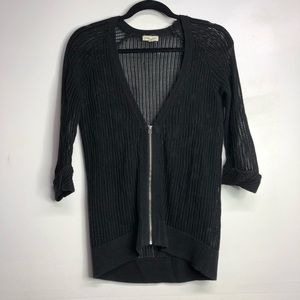UO silence + noise knit cardigan black zip front